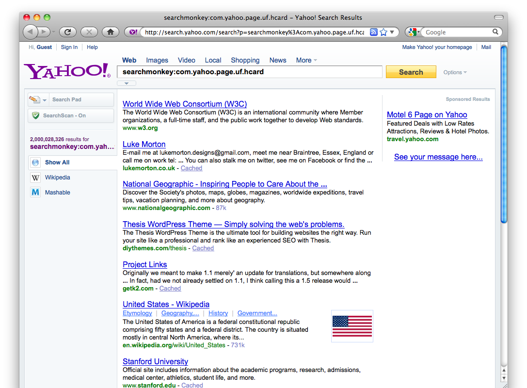 screenshot of Yahoo Search Monkey search results for pages with hCards showing just over 2 billion pages with hCards, taken 2010-07-03 at 7pm Pacific Time