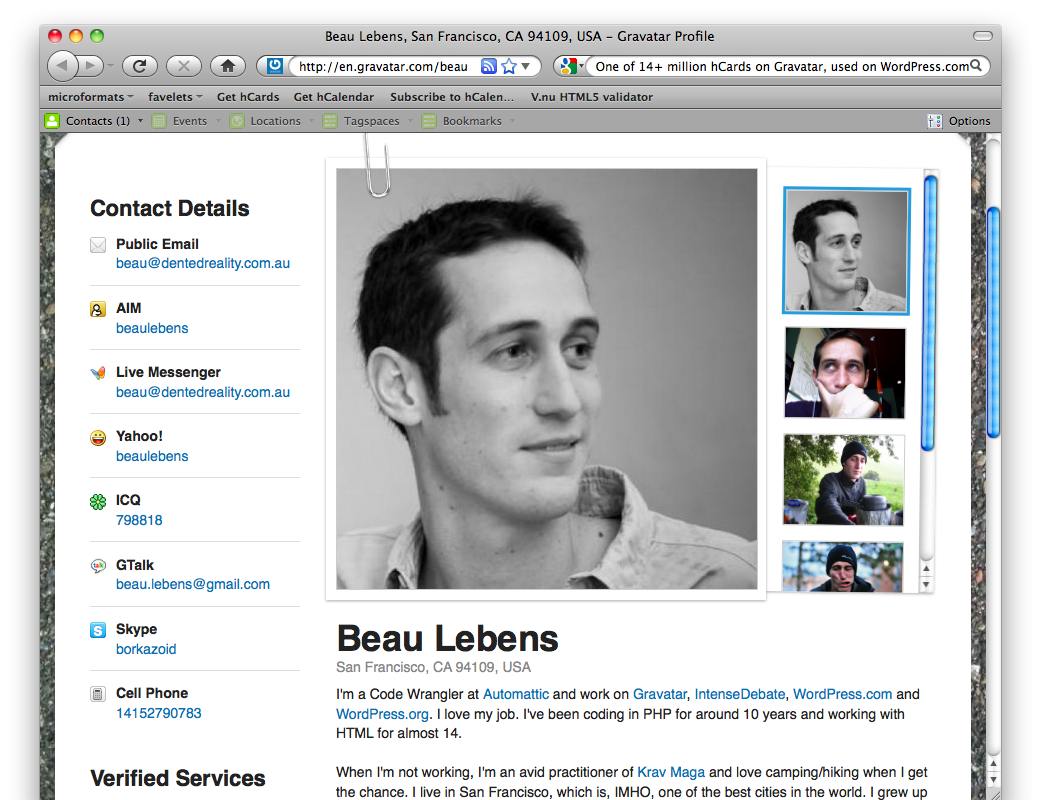 screenshot of Beau Lebens's Gravatar profile loaded in Firefox with the Operator toolbar showing one hCard